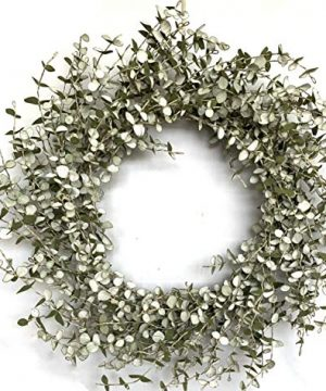 24 Inch Autumn Mini Eucalyptus Foliage Wreath Fall Front Door Wreath With EVA Washed White Leaves And Green Twigs Grapevine Farmhouse Wreath For Front Door Wall Window Festival Celebration Home Decor 0 300x360
