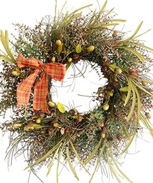 24 Inch Fall Winter Front Door Wreath Mixed Berry Bow Ribbon Wreath Large Fall Harvest Wreath With Pine Cone On Grapevine Base For Front Door Farmhouse Wall Window Festival Celebration Christmas Decor 0 300x360