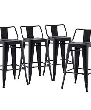 24 Inch Metal Barstools Set Of 4 Indoor Outdoor Bar Stools With Back Kitchen Dining Counter Stools Bar Chairs Matte Black 0 300x360