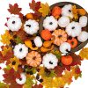 260PCS Fall Decorations For Home Assorted Harvest Artificial Pumpkins Gourds Maple Leaves Acorns Pine Cones Bulk Farmhouse Fall Halloween Thanksgiving Table Decorations Home Kitchen Decor 0 100x100