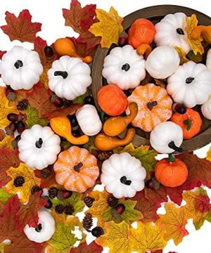 260PCS Fall Decorations For Home Assorted Harvest Artificial Pumpkins Gourds Maple Leaves Acorns Pine Cones Bulk Farmhouse Fall Halloween Thanksgiving Table Decorations Home Kitchen Decor 0 300x360