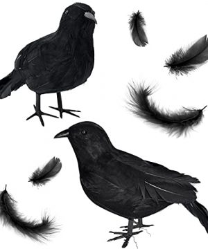 2Pack Realistic Black Crows Halloween Raven DecorationsLarge Handmade Black Feathered Crow Decoration For HalloweenBlack Halloween Decor For Yard Farmhouse Home OutdoorIndoor 0 300x360