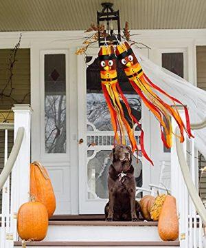 2Pcs Fall Thanksgiving Turkey Windsocks Decoration Fall Thanksgiving Decorations Thanksgiving Party Home Farmhouse Yard Wind Sock Outdoor Hanging Decor 55 Inch 0 5 300x360