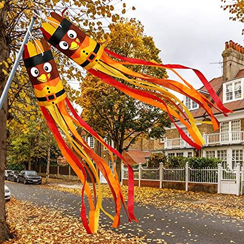 2Pcs Fall Thanksgiving Turkey Windsocks Decoration Fall Thanksgiving Decorations Thanksgiving Party Home Farmhouse Yard Wind Sock Outdoor Hanging Decor 55 Inch 0