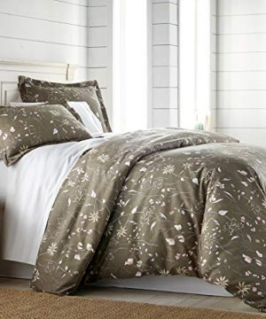 3 Piece Printed Duvet Cover Set Secret Meadow Olive Brown Full Queen 0 300x360