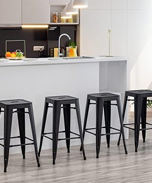 30 Inch Metal Barstools Set Of 4 Indoor Outdoor Bar Stools Stackable Backless Kitchen Dining Counter Stools Matte Black 0 300x360