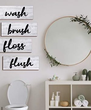 4 Pieces Farmhouse Bathroom Wall Decors Wash Brush Floss Flush Signs Rustic Hanging Wooden Signs Primitive Bathroom Wall Arts Vintage Wooden Decorations For Home Laundry Room Bathroom White 0 300x360