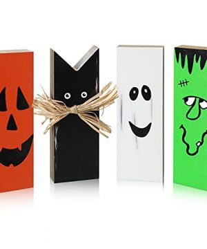 4 Pieces Happy Halloween Wooden Table Block Centerpiece Halloween Black And Orange Cats Pumpkin Ghost Tiered Tray Mini Wood Sign For Dinner Halloween Party Indoors Or Outdoors Home Plaques Decor 0 300x360