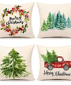 4TH Emotion Christmas Pillow Covers 20x20 Set Of 4 Farmhouse Christmas Decor Xmas Rustic Decorations For Home Winter Holiday Truck Tree Throw Pillows Cushion Case For Sofa Couch Polyester Linen S202 0 300x360