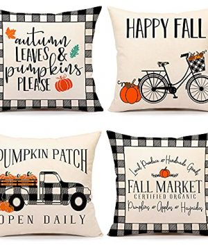 4TH Emotion Fall Decor Pillow Covers 18x18 Set Of 4 Buffalo Check Pumpkin Farmhouse Decorations Autumn Market Outdoor Fall Pillows Decorative Throw Cushion Case For Home Couch TH005 18 0 300x360