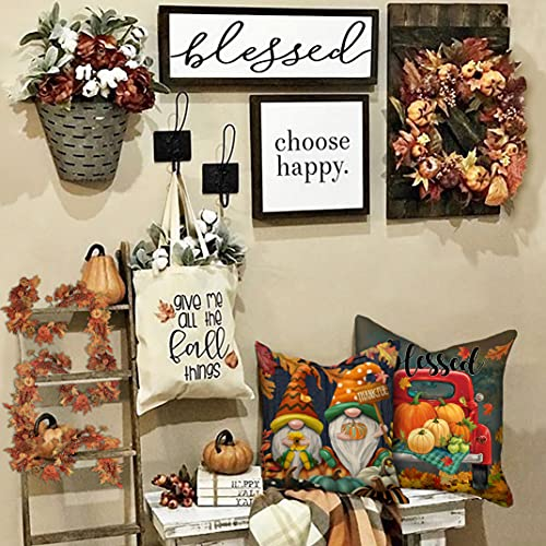 4TH Emotion Fall Decor Pillow Covers 18x18 Set Of 4 Thanksgiving Pumpkin Farmhouse Decorations Gnomes Scarecrow Outdoor Happy Fall Pillows Decorative Throw Cushion Case For Home Couch TH016 18 0 2
