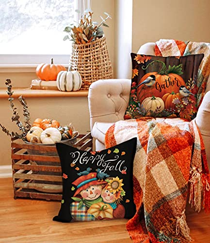 4TH Emotion Fall Decor Pillow Covers 18x18 Set Of 4 Thanksgiving Pumpkin Farmhouse Decorations Gnomes Scarecrow Outdoor Happy Fall Pillows Decorative Throw Cushion Case For Home Couch TH016 18 0 3