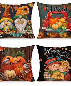 4TH Emotion Fall Decor Pillow Covers 18x18 Set Of 4 Thanksgiving Pumpkin Farmhouse Decorations Gnomes Scarecrow Outdoor Happy Fall Pillows Decorative Throw Cushion Case For Home Couch TH016 18 0 300x360