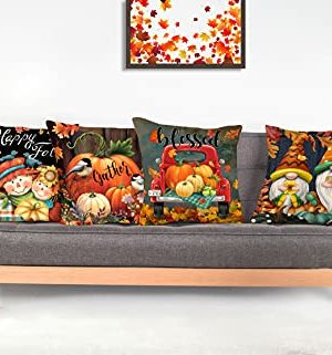 4TH Emotion Fall Decor Pillow Covers 18x18 Set Of 4 Thanksgiving Pumpkin Farmhouse Decorations Gnomes Scarecrow Outdoor Happy Fall Pillows Decorative Throw Cushion Case For Home Couch TH016 18 0 4 300x321