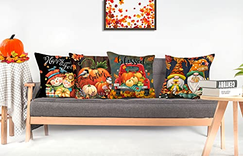 4TH Emotion Fall Decor Pillow Covers 18x18 Set Of 4 Thanksgiving Pumpkin Farmhouse Decorations Gnomes Scarecrow Outdoor Happy Fall Pillows Decorative Throw Cushion Case For Home Couch TH016 18 0 4