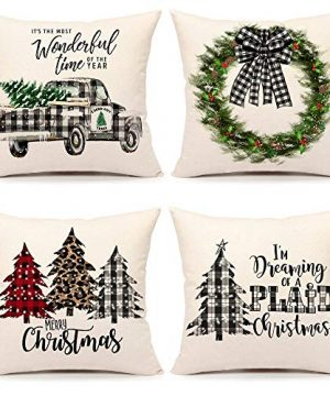 4TH Emotion Farmhouse Christmas Pillow Covers 20x20 Set Of 4 Country Christmas Decorations Black And White Buffalo Plaid Truck Tree Throw Pillow Cases Cushion Cover Winter Holiday Home Decor 0 300x360