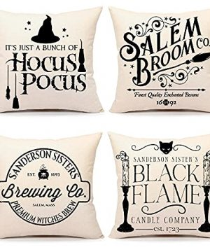 4TH Emotion Halloween Decor Pillow Covers 18x18 Set Of 4 Halloween Decorations Hocus Pocus Farmhouse Saying Outdoor Fall Pillows Decorative Throw Cushion Case For Home Couch TH023 18 0 300x360