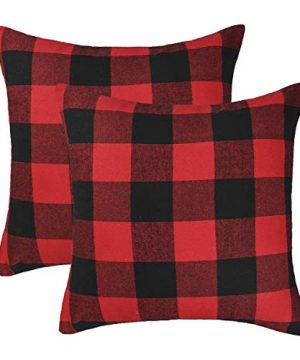 4TH Emotion Set Of 2 Christmas Buffalo Check Plaid Throw Pillow Covers Cushion Case Polyester For Farmhouse Home Decor Red And Black 26 X 26 Inches 0 300x360