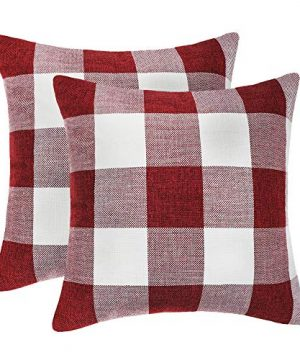 4TH Emotion Set Of 2 Farmhouse Buffalo Check Plaid Throw Pillow Covers Cushion Case Polyester Linen For Christmas Home Decor Red And White 18 X 18 Inches 0 300x360