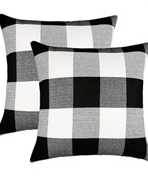 4TH Emotion Set Of 2 Farmhouse Buffalo Check Plaid Throw Pillow Covers Cushion Case Polyester Linen For Fall Home Decor Black And White 18 X 18 Inches 0 300x360