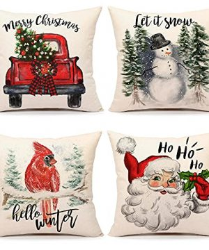 4TH Emotion Vintage Rustic Christmas Pillow Covers 18x18 Set Of 4 Farmhouse Christmas Trees Decor Red Truck Santa Claus Snowman Cardinal Winter Holiday Decorations Throw Cushion Case For Home Couch 0 300x360