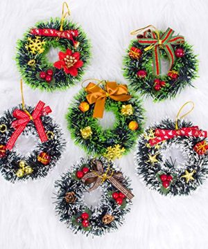 6 Pcs Christmas Pine Wreaths PVC Mini Christmas Wreath For Front Door Christmas Holiday Indoor Home Decorations 0 300x360