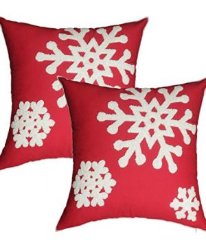 ABOUFUNNY Red Christmas Pillow CoversSnowflake Outdoor Pillow ShellAccent Embroidered Cushion Covers Decor For HomePatioLivingroomCouch18x18 Inch2 Pack 0 300x360
