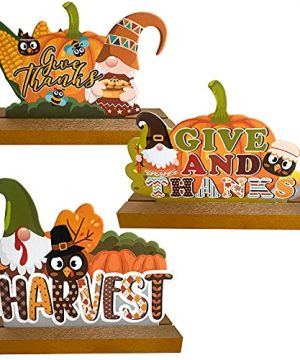 ACARGOER 3 Pieces Thanksgiving Wooden Centerpiece Sign Welcome Fall Harvest Blessing Table Toppers Table Signs With Gnomes Turkey Pumpkin Maple Shaped Ornaments Forfor Harvest Give And Thanks Wooden H 0 300x360