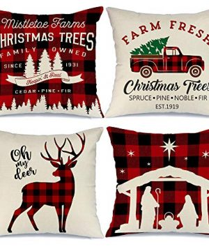 AENEY Buffalo Plaid Christmas Pillow Covers 18x18 Set Of 4 Christmas Pillows Xmas Winter Holiday Throw Pillows Deer Farmhouse Christmas Decor Red Truck Christmas Decorations For Couch A265 0 300x360