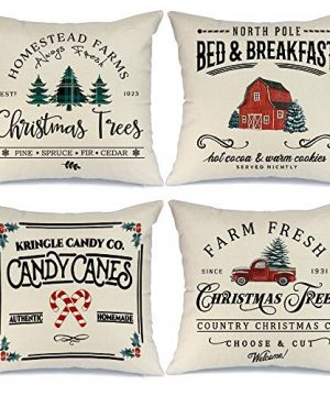 AENEY Christmas Decorations Pillow Covers 18x18 Set Of 4 Farm Fresh Tree Red Truck Rustic Winter Holiday Throw Pillows Farmhouse Christmas Decor For Home Xmas Cushion Cases For Sofa Couch A282 0 300x360
