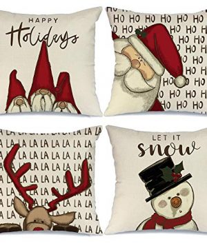 AENEY Christmas Decorations Pillow Covers 18x18 Set Of 4 Gnome Santa Deer Snowman Rustic Winter Holiday Throw Pillows Farmhouse Christmas Decor For Home Xmas Cushion Cases For Couch A313 18 0 300x360