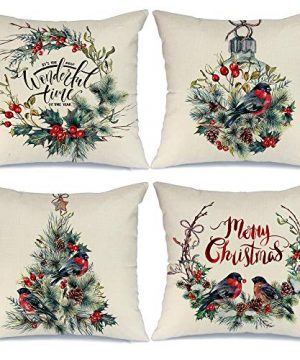 AENEY Christmas Decorations Pillow Covers 18x18 Set Of 4 Watercolor Wreath Bird Merry Christmas Pillows Rustic Winter Holiday Throw Xmas Pillows Farmhouse Christmas Decor For Couch A280 0 300x360