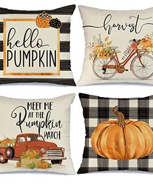 AENEY Fall Pillow Covers 18x18 Set Of 4 Buffalo Check Plaid Stripes Pumpkin Truck Bicycle Outdoor Fall Pillows Decorative Throw Pillows Farmhouse Thanksgiving Cushion Case For Couch A402 18 0 300x360