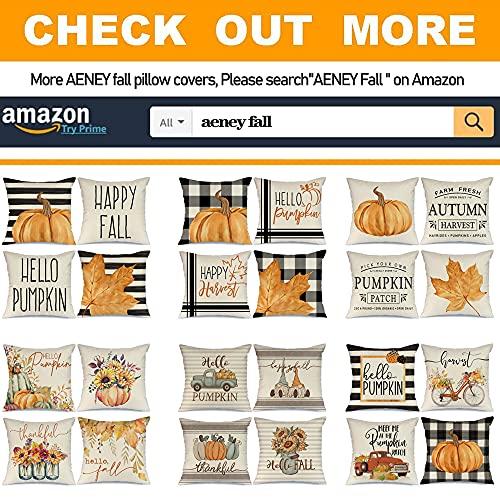 AENEY Fall Pillow Covers 18x18 Set Of 4 For Fall Decor Buffalo Plaid Pumpkin Maple Leaf Fall Pillows Decorative Throw Pillows Farmhouse Thanksgiving Autumn Cushion Case For Couch A406 18 0 2