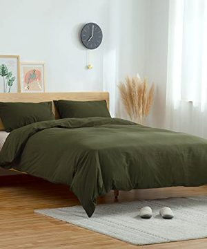 ATsense Duvet Cover King 100 Washed Cotton Bedding Duvet Cover Set 3 Piece Ultra Soft And Easy Care Simple Style Farmhouse Bedding Set Dark Green J8013 0 0 300x360