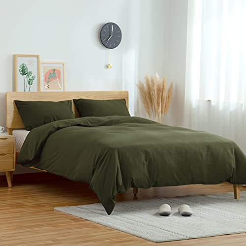 ATsense Duvet Cover King 100 Washed Cotton Bedding Duvet Cover Set 3 Piece Ultra Soft And Easy Care Simple Style Farmhouse Bedding Set Dark Green J8013 0 0