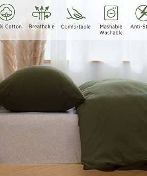 ATsense Duvet Cover King 100 Washed Cotton Bedding Duvet Cover Set 3 Piece Ultra Soft And Easy Care Simple Style Farmhouse Bedding Set Dark Green J8013 0 1 300x360