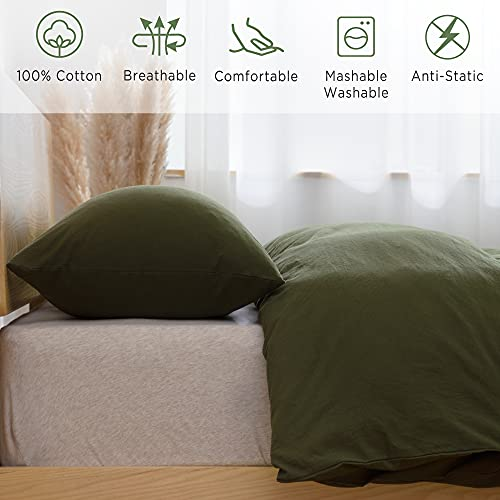 ATsense Duvet Cover King 100 Washed Cotton Bedding Duvet Cover Set 3 Piece Ultra Soft And Easy Care Simple Style Farmhouse Bedding Set Dark Green J8013 0 1