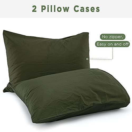 ATsense Duvet Cover King 100 Washed Cotton Bedding Duvet Cover Set 3 Piece Ultra Soft And Easy Care Simple Style Farmhouse Bedding Set Dark Green J8013 0 4