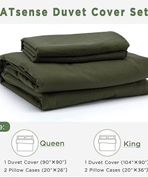 ATsense Duvet Cover King 100 Washed Cotton Bedding Duvet Cover Set 3 Piece Ultra Soft And Easy Care Simple Style Farmhouse Bedding Set Dark Green J8013 0 5 300x360
