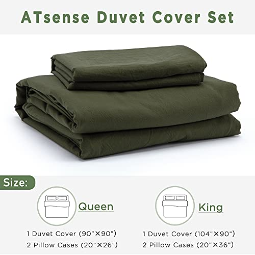 ATsense Duvet Cover King 100 Washed Cotton Bedding Duvet Cover Set 3 Piece Ultra Soft And Easy Care Simple Style Farmhouse Bedding Set Dark Green J8013 0 5