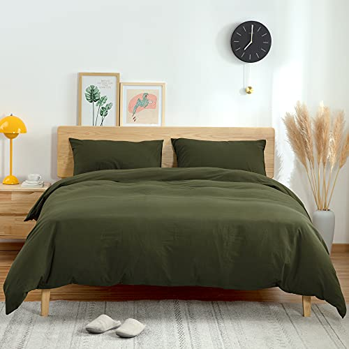ATsense Duvet Cover King 100 Washed Cotton Bedding Duvet Cover Set 3 Piece Ultra Soft And Easy Care Simple Style Farmhouse Bedding Set Dark Green J8013 0
