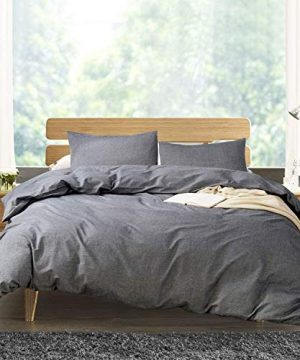 ATsense Duvet Cover Twin 100 Washed Cotton Bedding Duvet Cover Set 3 Piece Ultra Soft And Easy Care Simple Style Farmhouse Bedding Set Dark Grey 7003 4 0 300x360
