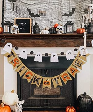 AVOIN Trick Or Treat Banner No DIY Required Chevron Polka Dot Spider Web Bat Pumpkin Witch Hat Rustic Pennant Decoration For Halloween Party Doorway Mantels Wall 0 0 300x360