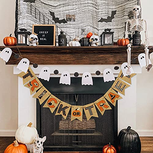 AVOIN Trick Or Treat Banner No DIY Required Chevron Polka Dot Spider Web Bat Pumpkin Witch Hat Rustic Pennant Decoration For Halloween Party Doorway Mantels Wall 0 0