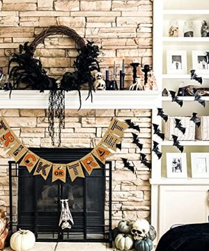 AVOIN Trick Or Treat Banner No DIY Required Chevron Polka Dot Spider Web Bat Pumpkin Witch Hat Rustic Pennant Decoration For Halloween Party Doorway Mantels Wall 0 1 300x360
