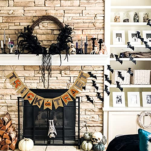 AVOIN Trick Or Treat Banner No DIY Required Chevron Polka Dot Spider Web Bat Pumpkin Witch Hat Rustic Pennant Decoration For Halloween Party Doorway Mantels Wall 0 1