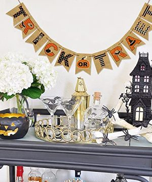 AVOIN Trick Or Treat Banner No DIY Required Chevron Polka Dot Spider Web Bat Pumpkin Witch Hat Rustic Pennant Decoration For Halloween Party Doorway Mantels Wall 0 2 300x360
