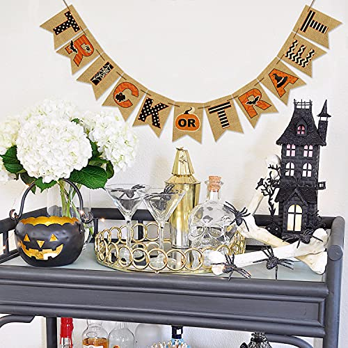 AVOIN Trick Or Treat Banner No DIY Required Chevron Polka Dot Spider Web Bat Pumpkin Witch Hat Rustic Pennant Decoration For Halloween Party Doorway Mantels Wall 0 2