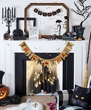 AVOIN Trick Or Treat Banner No DIY Required Chevron Polka Dot Spider Web Bat Pumpkin Witch Hat Rustic Pennant Decoration For Halloween Party Doorway Mantels Wall 0 3 300x360